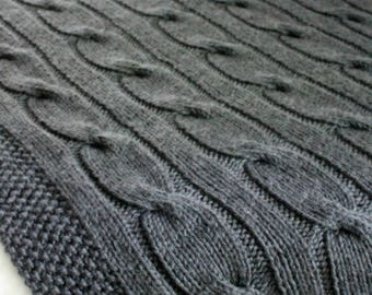 KNITTING PATTERN / Blanket / North of the River / Cable / Throw / Afghan / Knit / Gift / Wedding / Baby / Quick / PDF Instant Download