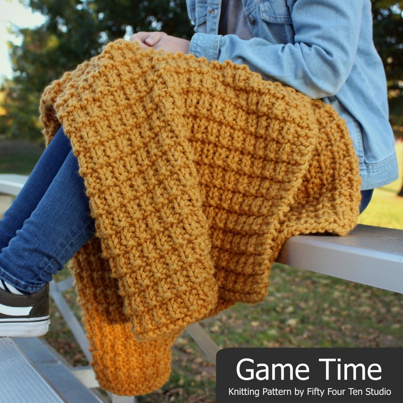 6a65a4587735a Blanket KNITTING PATTERN   Game Time   Throw   Afghan   Knit