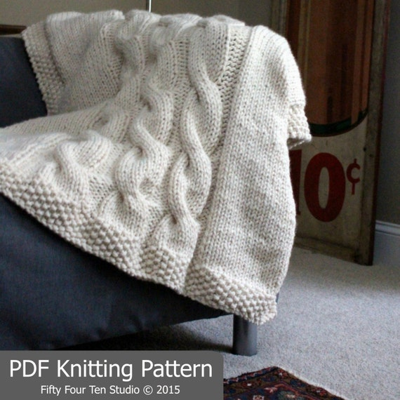 Knitting Pattern Blanket Throw Cable Knit Super Bulky Etsy