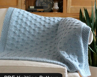 Blanket KNITTING PATTERN / Belleview Blanket / Throw / Afghan / Knit / Gift / Wedding / Baby / Quick / Easy / PDF Instant Download
