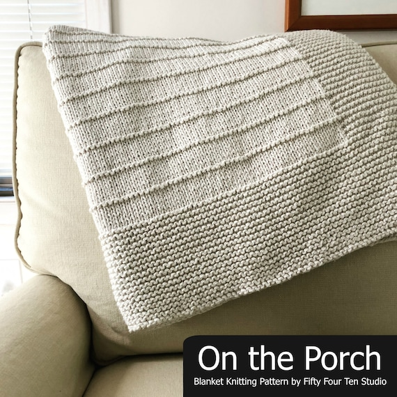 Blanket Knitting Pattern On The Porch Baby Throw Etsy