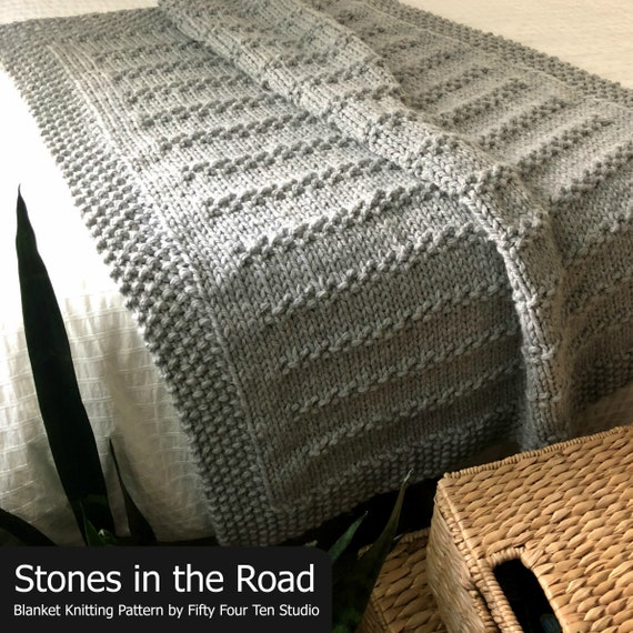 Blanket Knitting Pattern Stones In The Road Throw Afghan Etsy