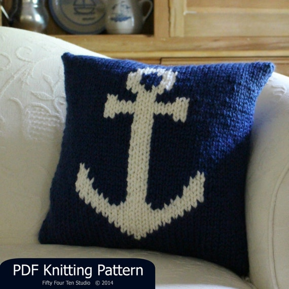 Pillow Knitting Pattern Cushion Anchor Nautical Quick Etsy