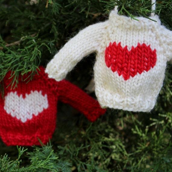 Knitting Pattern Christmas Ornament Heart Mini Sweater Etsy