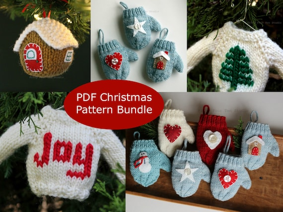 Knitting Pattern Christmas Ornament Pattern Bundle Pdf Etsy