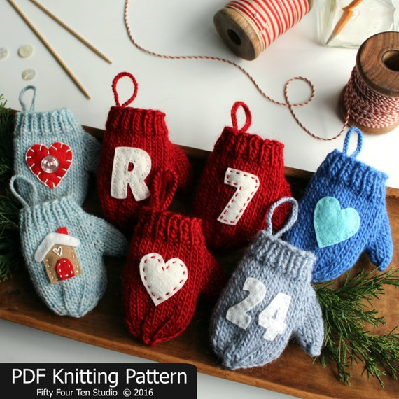 Knitting Pattern Mitten Christmas Ornament Quick Knit Etsy