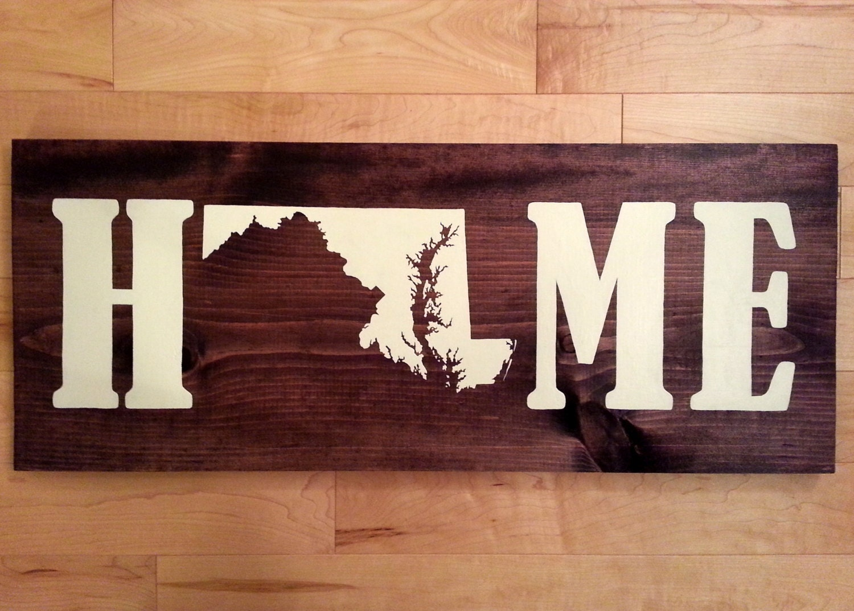 Maryland Home Decor Home sign Maryland State Wood Sign Maryland Maryland Sign Housewarming Gift Maryland Wall Art Baltimore