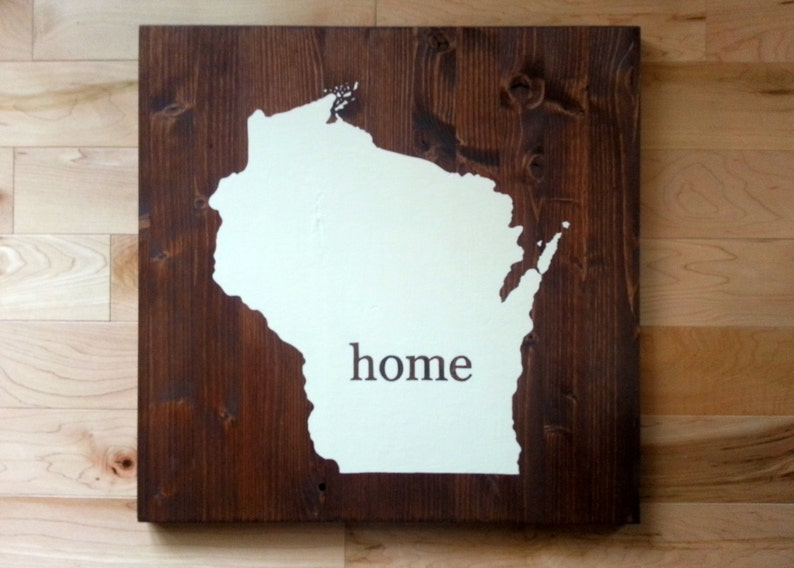 Wisconsin State Map Home Wood Sign image 0