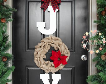 joy door hanger joy 3 piece wooden letter wreath set door hanger christmas door decor rustic holiday door decor set active - Joy Christmas Decoration
