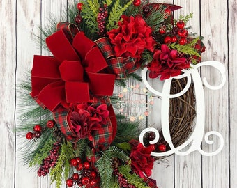 beautiful christmas wreath holiday wreath christmas plaid monogram holiday greenery wreath christmas wreath winter wreath preorders - Christmas Wreaths Etsy