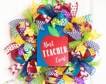 Best Teacher Wreath, Teacher Wreath, Colorful and Fun Teacher Wreath, Teacher Grad Wreath, Teacher Appreciation