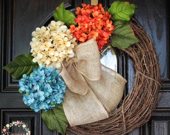 Hydrangea Wreath-Fall Wreath-Front Door Wreath-Grapevine Wreath-Everyday Wreath-Thanksgiving-Mothers Day Gift
