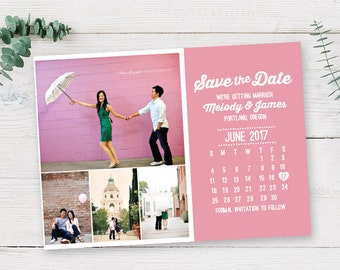 Multi Photo Calendar Save the Date Printable PDF or Printed Cards | Engagement Announcement | Cute Love Vintage Clean DIY Wedding