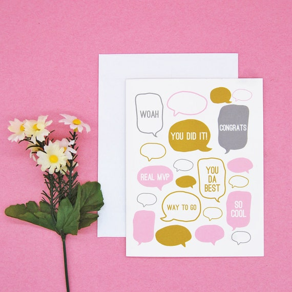 Celebration Graduation Party Congratulations Greeting Card Typography | With Envelope