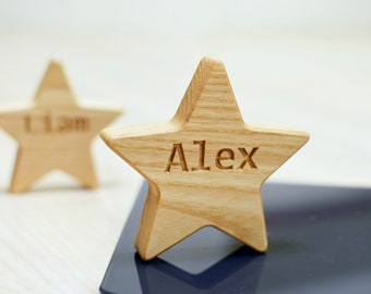 Personalized Wood Star Decor with Letter Engraved Christmas Ornament Decor Personalized Christmas Gift New Baby Shower Gift Birthday Gift