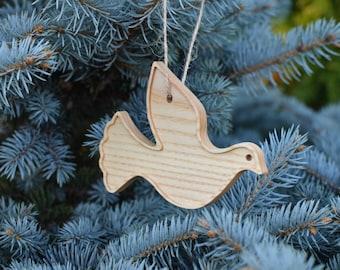 Wood Dove Christmas Tree Ornament Custom Wooden Dove for Christmas Decor Gifts Holiday Decor Christmas Tree Decoration Wood Bird