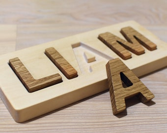 Wood Name Puzzle Personalized Wood Letter Puzzle Learning Toy Baby Shower Gift New Baby Gift Christmas Gift 1st Birthday Gift Spelling Toy