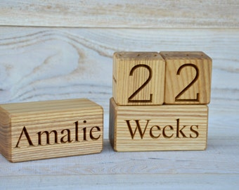 Wood Baby Age Blocks Personalized for Baby Shower New Baby Birthday Gift Photo Props Nursery Christmas Maternity Blocks Mothers Day Gift