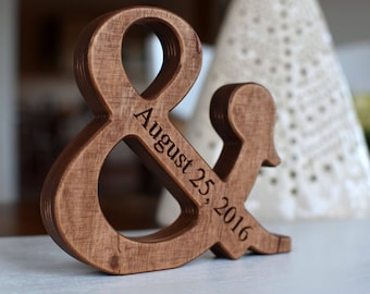 6'' Personalized Wood Ampersand Free Standing Wooden Letter Ampersand Valentines Day or Wedding Gift Home Decor 5th Wedding Anniversary