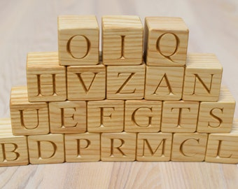 21 Wooden Italian Alphabet Blocks 1.6 inches ABC Wood Block Learning Wood Letter Personalized Blocks Christmas Baby Shower