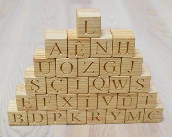 31 Kurdish Wood Alphabet Blocks ABC Wood Letter Blocks Learning Wood Toy Personalized Blocks Baby Shower or Birthday Gift