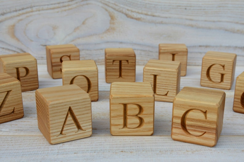 20 Large Wooden Alphabet Blocks English Abc Blocks Personalized Engraved Letter Cube Baby Shower Gift Ash Cubes