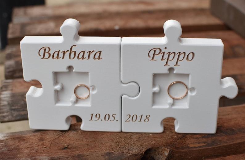 Personalized Wood Wedding Ring Bearer Pillow Puzzle White Wedding Ring Holder Wood Puzzle Ring Bearer Rustic Wedding Decor