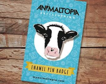 PRE-ORDER! Moo Cow Enamel Pin Badge - Hard Enamel Friesian Cow Badge, Silver Enamel Cow Badge, Black White Cow Lapel Pin, Cute Cow Gift