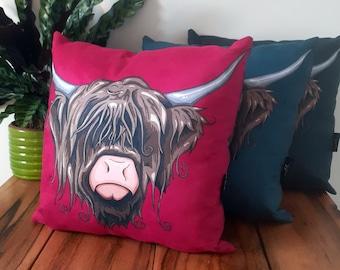 Highland Cow Cushions - 43cm Pop Art Highland Cow Cushion, Vegan Suede Cow Cushions, New Home Gift, Colourful Highland Cow Pillow, Cow Art