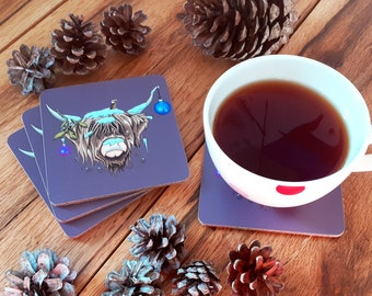Christmas Highland Cow Coaster - Limited Edition Festive Highland Cow Coasters, Cute Cow Gift, Xmas Highland Cow (Individual Coaster)