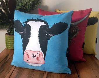 Moo Cow Cushions - 43cm Pop Art Cow Cushion, Vegan Suede Cow Cushions, Colourful Cow Pillow, Quirky Cow Gifts, New Home Gift, Cute Cow Art