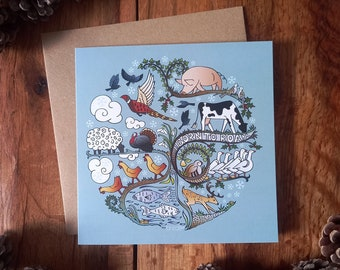 Born to Roam in Winter Yuletide Xmas Card - Turkey, Geese, Hens, Individual Compassionate Christmas Card for Animal Lovers (100% recycled)