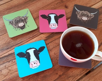 Cow Coasters - Highland Cow Coaster Set or Individual Cow Coaster, Pop Art Animal Coasters, New Home Gift, Kitchen Art, Cute Cow Gifts