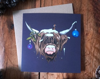 Christmas Highland Cow Yuletide Card, Individual Xmas Greetings Cards for Animal Lovers (100% recycled including envelope)