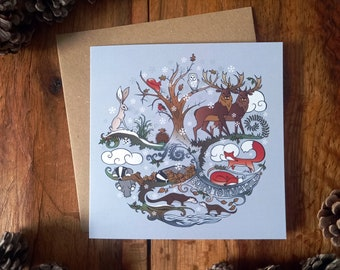 Born to Roam Wild in Winter Yuletide Xmas Cards - Fox, Badger, Hare, Stag, Individual Christmas Card for Wildlife Lovers (100% recycled)