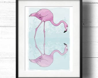 Flamingo Reflection - A4 Giclée Print - Pink flamingo with reflection in calm pastel blue waters / Pair of Flamingos