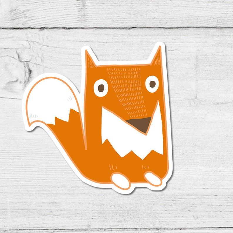 Fantastic Fox Sticker 10cm Approx Cute Wild Woodland Vegan Vinyl Sticker Fab Foxy Wildlife Critter