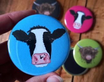 Cow Fridge Magnets - 58mm Round Cute Animal Fridge Magnets, Cow / Highland Cow, Circular Fridge Magnet, Pop Art Farm Animals, Animal Gifts