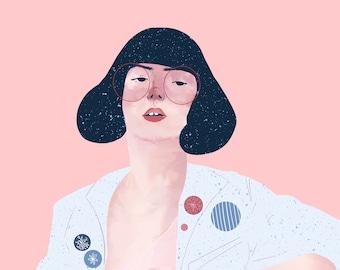 Sheer Bra Digital Portrait // Art Print // 1980s Retro Girl