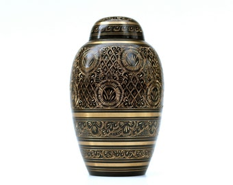 Brass Etched Indian Urn, Ethnic Decor, Container, Ginger Jar