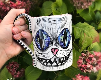 cat mug, cheshire cat, pottery mug, enamel mug, italian pottery, cute mug, animal coffee mug, alice in wonderland, cat portrait custom, cat