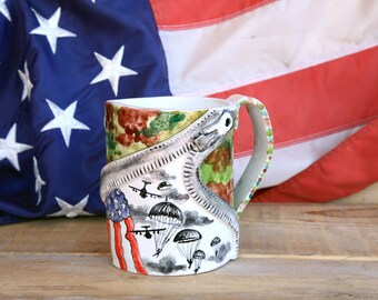 us army, coffee mug, airborne, military cup, patriotic mug, pottery mug, paratrooper gift, military mug, camo pattern, army wife gift, army