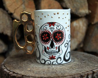knuckle brass mug, sugar skull tea mug, skull mug, gold knuckle brass, dia de los muertos, death inspired mug, sugar skull mug, gold studs