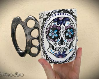 knuckles duster mug, skull mug, knuckle brass, sugar skull pottery, mexican skull art,skullcandy,skull obsessed,gothic girlfriend,mexican