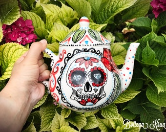 tea pot, skull teapot, sugar skull, dia de los muertos, ceramic teapot, mexican skull, 30th birthday, handpainted teapot, skull with roses