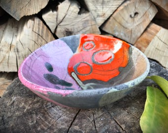 raku bowl, raku pottery, ashtray, ceramic bowl, colorful bowl, ring holder, soap dish, raku, handmade pottery, raku ceramic, raku ashtray