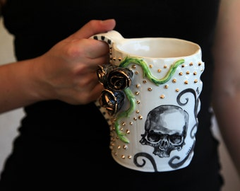 handmade mug, skull mug, gold studs, large coffee mug, gothic lover,gothic mug, handpainted skull,21st birthday gift, skull with roses,black