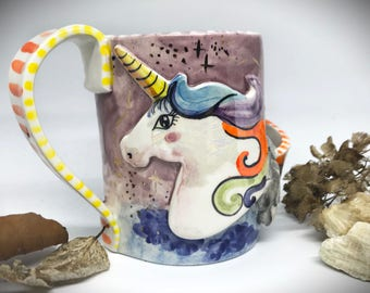 unicorn mug, unicorn gift, coffee mug pottery, galaxy unicorn, unicorn horn, large tea cup, stoneware coffee mug,big mug, handmade,pink