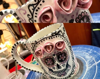 sugar skull,pottery coffee mugs,pottery mug handmade,coffee mug pottery,skull decor,dias de los muertos, skull mug,mexican pottery, pink mug