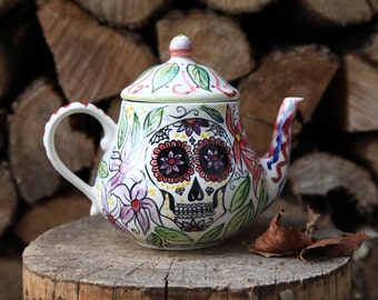 sugar skull, skull teapot, tea tool, mexican skull, dia de los muertos, handpainted teapot, ceramic teapot, colorful skull, day of the dead